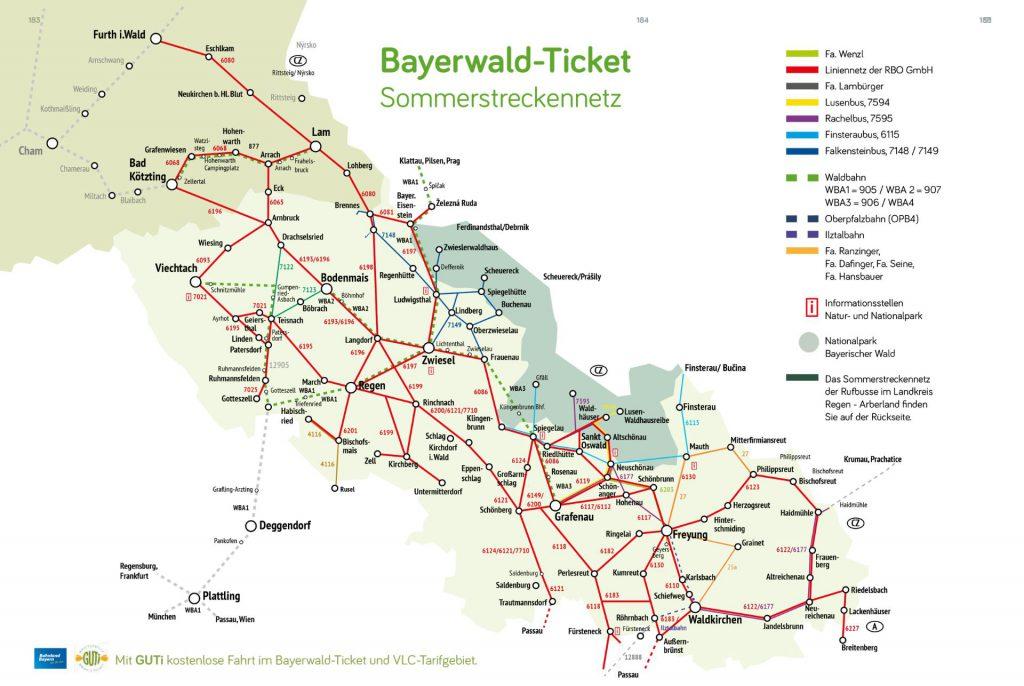 © bayerwald-ticket.com - Bayerwald-Ticket Streckennetz Sommer 2017