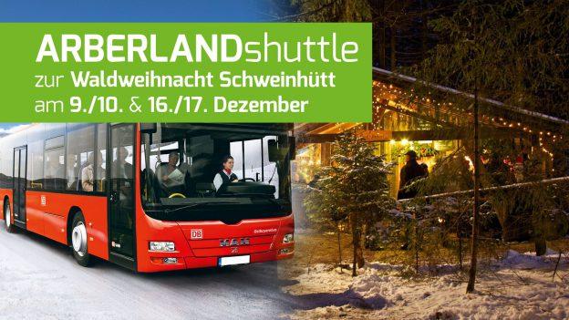 Testprojekt des Landkreises Regen: Arberland Shuttlebus zur Waldweihnacht Schweinhütt. Fotos: © DB AG, © Waldweihnacht Schweinhütt.