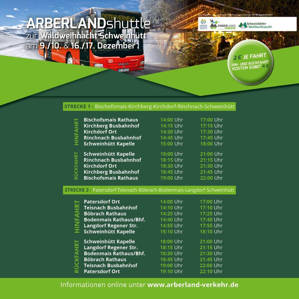 Hier können Sie die Haltestellen und die jeweiligen Abfahrtszeiten an allen Veranstaltungstagen der Waldweihnacht entnehmen.