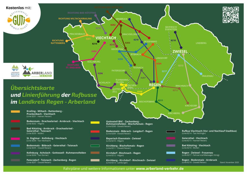 Übersichtskarte der Rufbusse im Landkreis Regen. Grafik: © Johann Brunner / Landkreis Regen