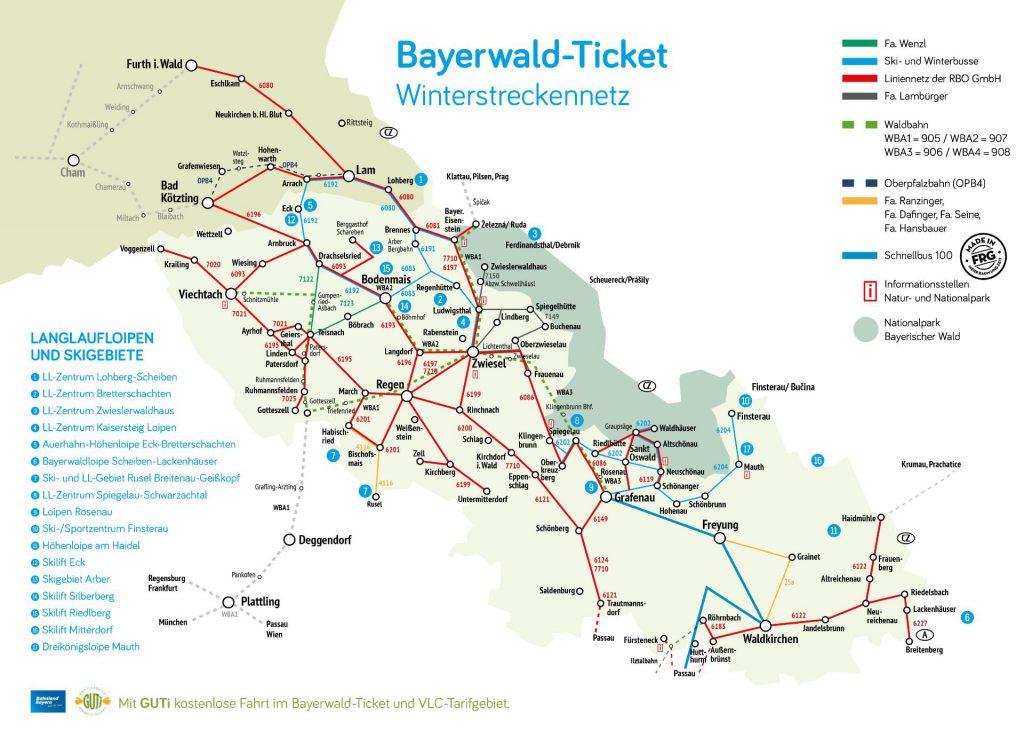 © bayerwald-ticket.com - Bayerwald-Ticket Streckennetz Winter 2017/2018