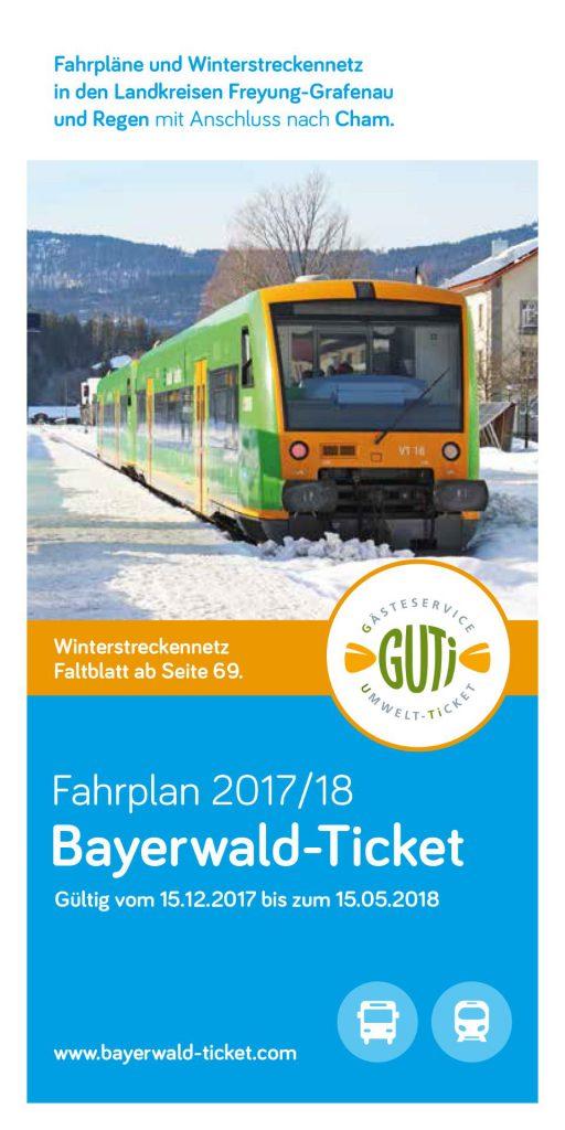 Das aktuelle Cover vom Faltblatt des Bayerwald-Tickets für die Saison Winter 2017/2018.