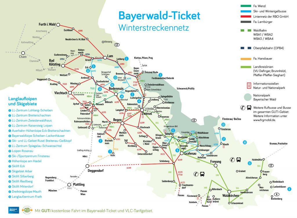 Bayerwald-Ticket Streckennetzkarte Winter 2018/2019.