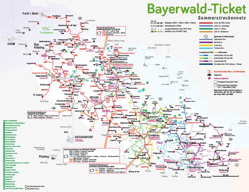 Bayerwald-Ticket Streckennetzkarte Sommer 2019.