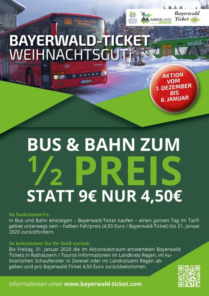Bayerwald-Ticket Weihnachtsguti Aktion Bus & Bahn zum halben Preis.